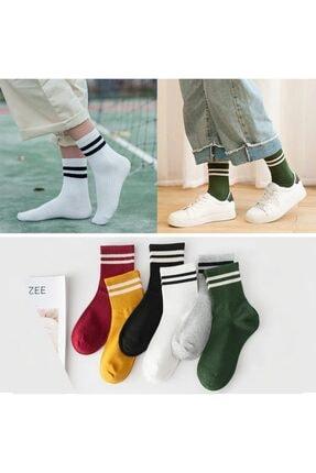 çorapmanya 6 Çift Unisex Karışık Renkli Çizgili Kolej Tenis Çorabı 0