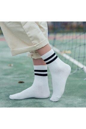 çorapmanya 6 Çift Unisex Karışık Renkli Çizgili Kolej Tenis Çorabı 1