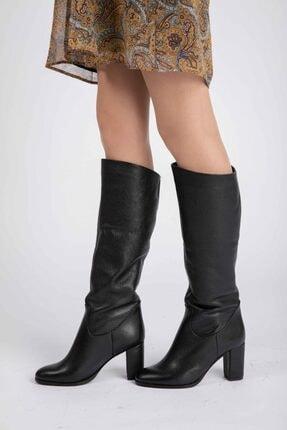 Masish Kadın Siyah Diz Altı Topuklu Deri Çizme 1