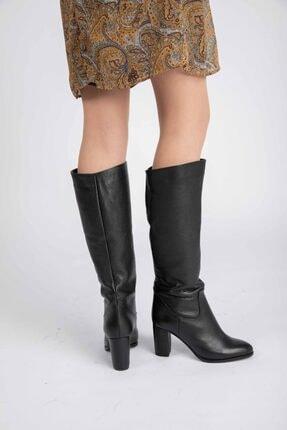 Masish Kadın Siyah Diz Altı Topuklu Deri Çizme 4