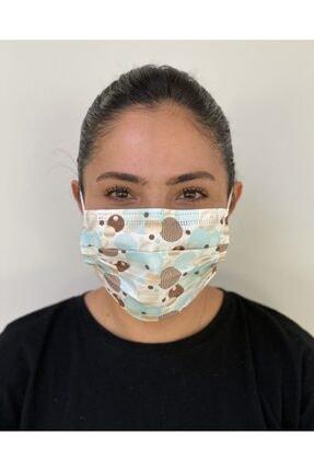 Bosmax 10 Adet Desenli Baskılı 3katlı Burun Telli Meltblown Ara Katman Maske 0