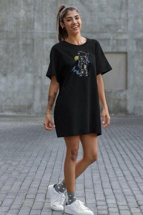 Angemiel Kadın Siyah  Wear Havalı Astronot  Pamuklu Tişört Elbise 0