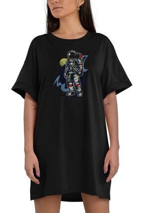 Angemiel Kadın Siyah  Wear Havalı Astronot  Pamuklu Tişört Elbise 1