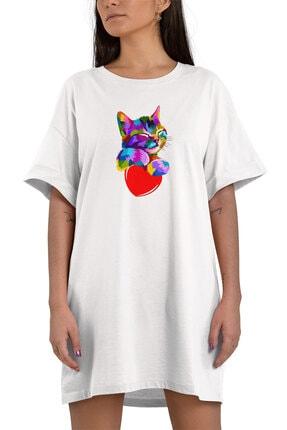 Angemiel Kadın Beyaz Rengarenk Kalbe Sarılan Kedi Pamuklu Tişört Elbise 1