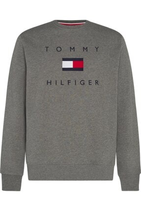 Tommy Hilfiger Erkek Gri Tommy Flag Hılfıger Sweatshırt 0