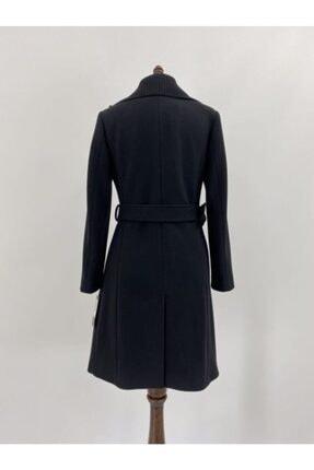 Lalezar Kadın Siyah Triko Yaka Detaylı Uzun Kaban 1