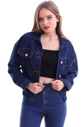 Kadın Koyu Mavi Altı Lastik Detay Boyfriend Kot Ceket 9041