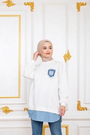 Şule Giyim Kadın Beyaz Kot Cepli Altı Kot Detaylı Sweat 1