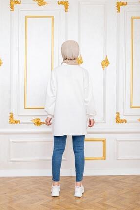 Şule Giyim Kadın Beyaz Kot Cepli Altı Kot Detaylı Sweat 3