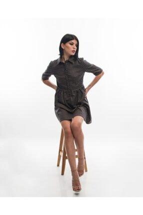 EPATAGE Kadın Bej Ekoseli Elbise 0