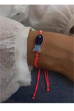 Serpil Jewellery Kadın Pembe Neon İpli Balıklı Şans Bilekliği 0