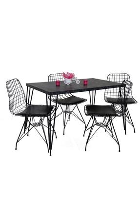 Hedef Yemek Masa Mutfak Masa Sandalye Takımı 4 Adet Tel Sandalye 1 Adet Masa 0