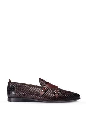 Picture of Erkek Bordo Hakiki Deri Çift Tokalı Loafer Ayakkabı