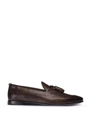 Picture of Erkek Kahverengi Hakiki Deri Kroko Loafer Ayakkabı