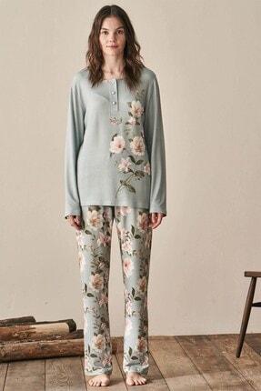 Lohusa Sepeti Kadın Yeşil Igone Lohusa Pijama Takımı 3944 2