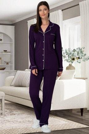 Lohusa Sepeti Kadın Mor Önden Düğmeli Pijama Takımı 5336 1