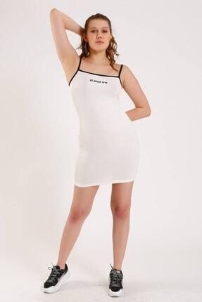 Zechka Önü Yazılı Askılı Elbise (za011) 3