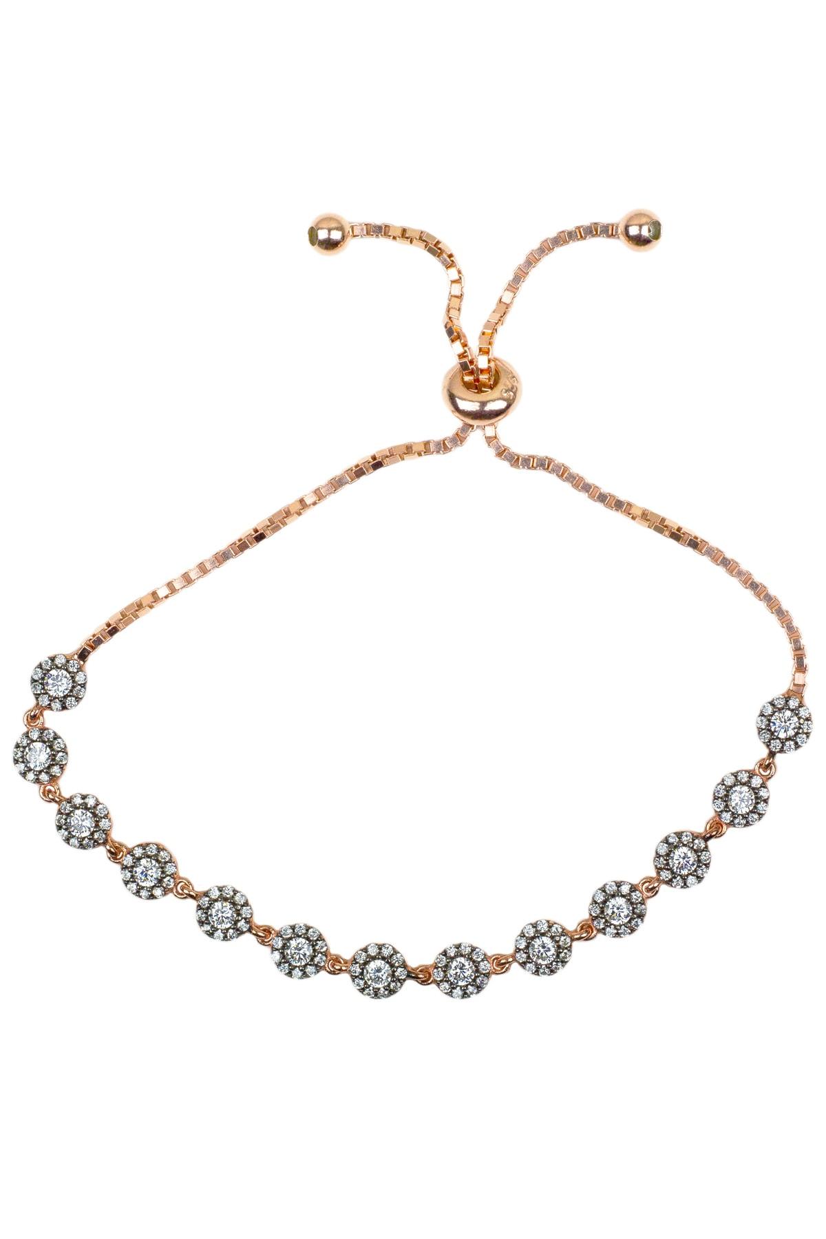 By Barun Silver Kadın 925 Ayar Gümüş  Elmas Bileklik - Rose BL-0071 0