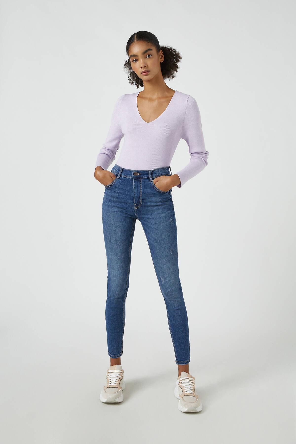 Pull & Bear Kadın Koyu Mavi Orta Bel Skinny Fit Jean 05682320 0