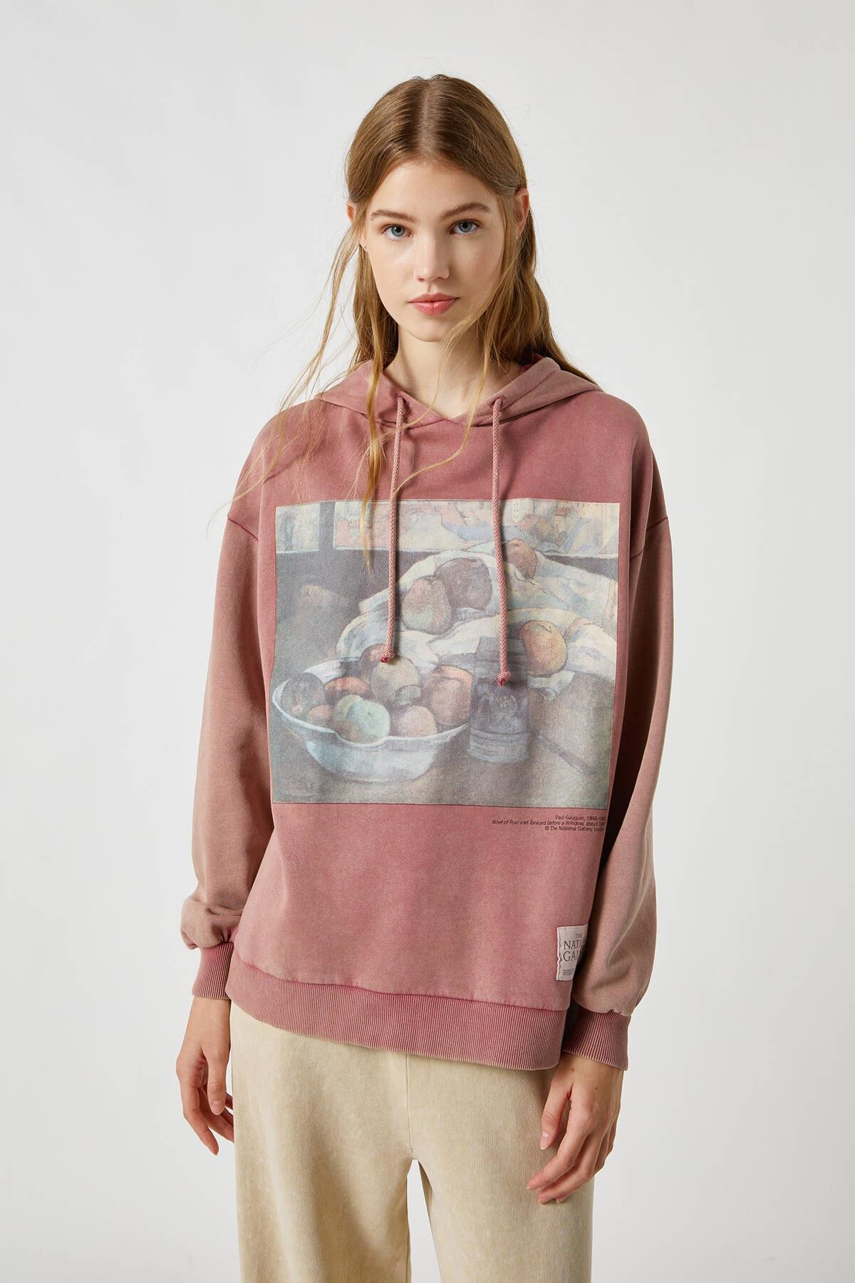 Pull & Bear Kadın Frambuaz Pembe Gauguin Kapüşonlu Sweatshirt 09594340 2