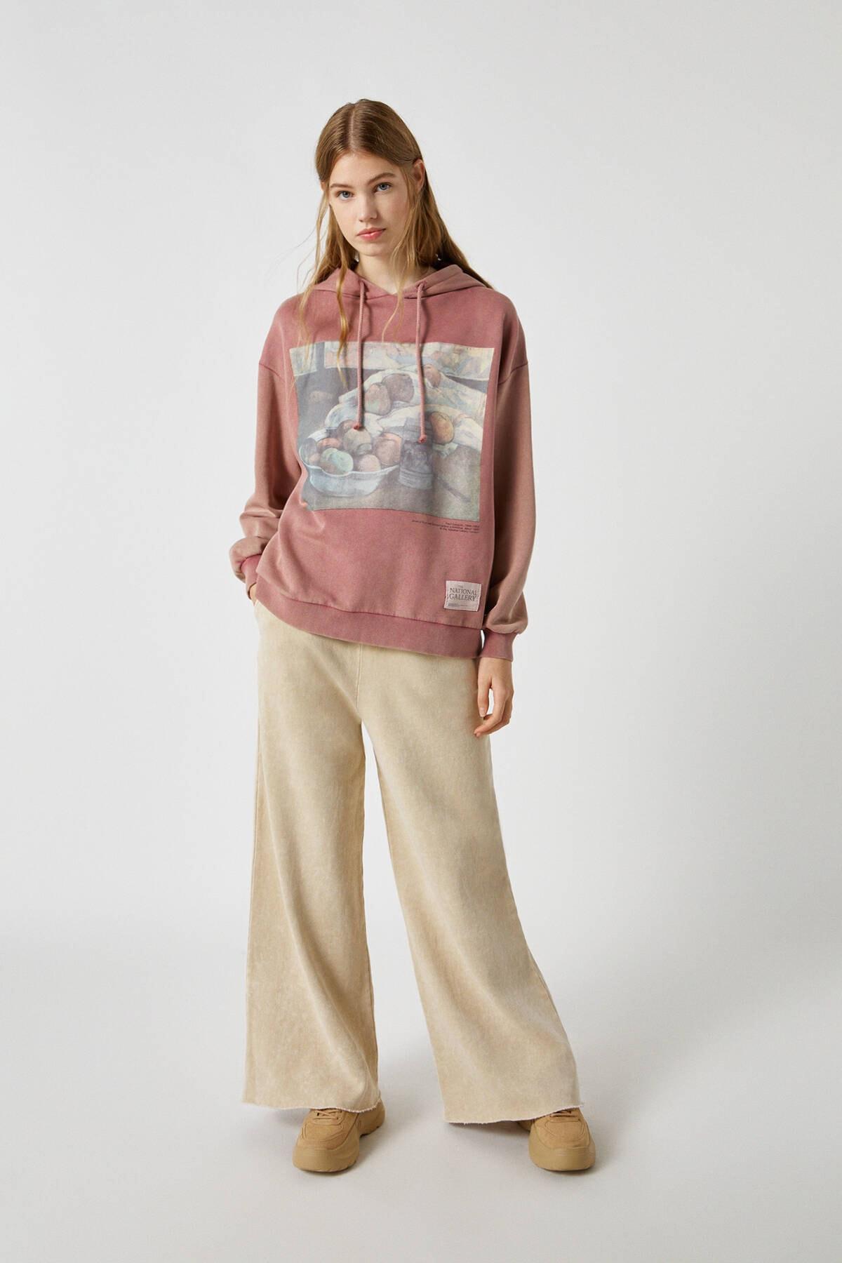 Pull & Bear Kadın Frambuaz Pembe Gauguin Kapüşonlu Sweatshirt 09594340 3