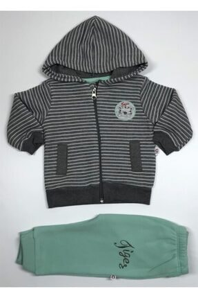 Carmin Baby Erkek Çocuk Yeşil Fermuarlı Özel Jakarlı Kapşonlu Ikili Takım 4