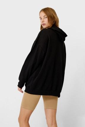 Stradivarius Kadın Siyah Oversize Fit Sweatshirt 06753445 1