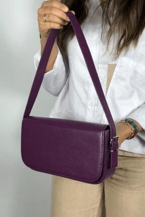 LinaConcept Kadın Mor Kapaklı Baget Çanta 0