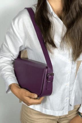 LinaConcept Kadın Mor Kapaklı Baget Çanta 1