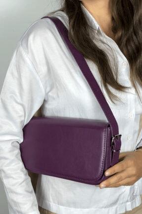 LinaConcept Kadın Mor Kapaklı Baget Çanta 2