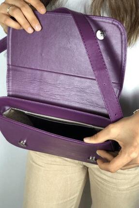 LinaConcept Kadın Mor Kapaklı Baget Çanta 4
