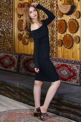 caspianstore Kadın Siyah Degaje Yaka Elbise 1