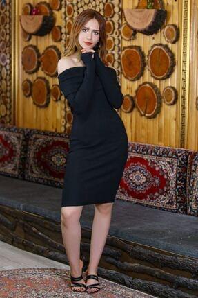 caspianstore Kadın Siyah Degaje Yaka Elbise 2