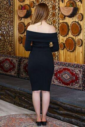 caspianstore Kadın Siyah Degaje Yaka Elbise 3