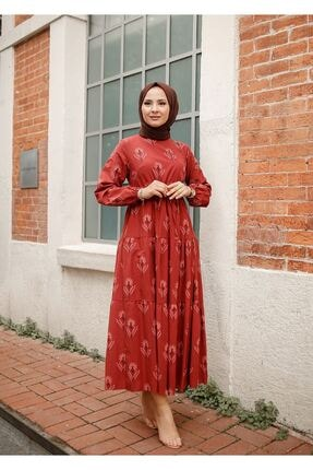 ELBİCA Kadın Kiremit Beli Büzgülü Desenli Elbise 5424 0