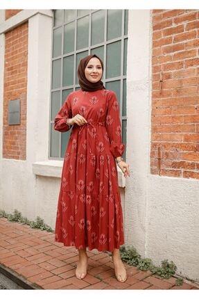 ELBİCA Kadın Kiremit Beli Büzgülü Desenli Elbise 5424 1
