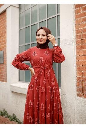 ELBİCA Kadın Kiremit Beli Büzgülü Desenli Elbise 5424 2