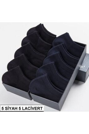 تصویر از 10 Çift Modal Dikişsiz Siyah-lacivert Kadın Patik Çorap Bilek Boy