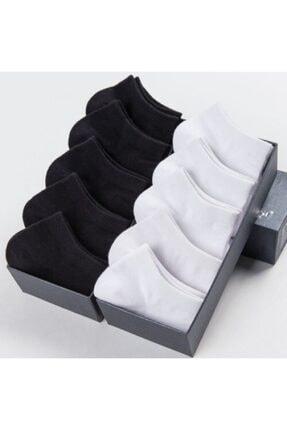 تصویر از 10 Çift Bambu Dikişsiz Siyah Beyaz Kadın Patik Çorap Bilek Boy
