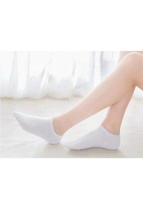 تصویر از 10 Çift Bambu Dikişsiz Beyaz Kadın Patik Çorap Bilek Boy