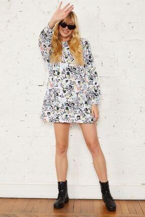 Mispacoz Kadın Siyah Desenli Kapüşonlu Tunik Elbise 4