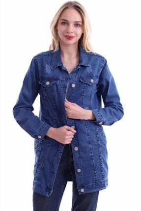 Kadın Mavi Yıpratmalı Kot Ceket 9043