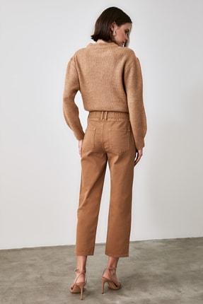 TRENDYOLMİLLA Camel Beli Lastikli Yüksek Bel Straight Jeans TWOAW21JE0377 3