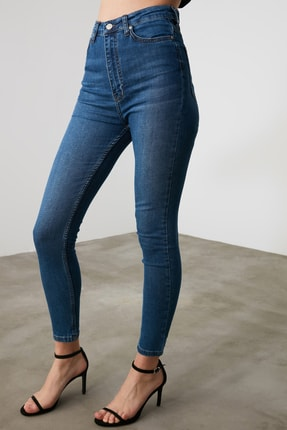 TRENDYOLMİLLA Mavi Yüksek Bel Skinny Jeans TWOAW21JE0513 3
