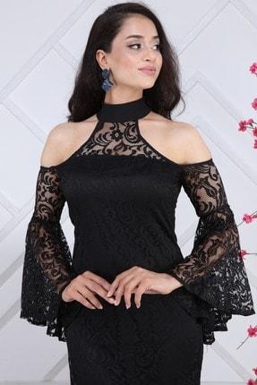 Matik Abiyem Kadın Siyah Dantel Üstü Flok Baskılı Abiye Elbise 1