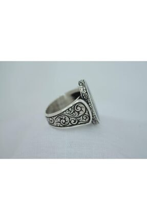 GİZA SİLVER Osmanlı Sancağı Mineli Kalem Işlemeli 925 Ayar Gümüş Erkek Yüzük 3