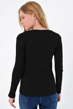 Trend Alaçatı Stili Kadın Siyah Çıtçıtlı Kaşkorse Bluz MDS-345-BLZ 1