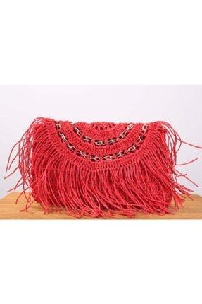 Kadın Kırmızı Hasır Clutch Çanta Clutch-2