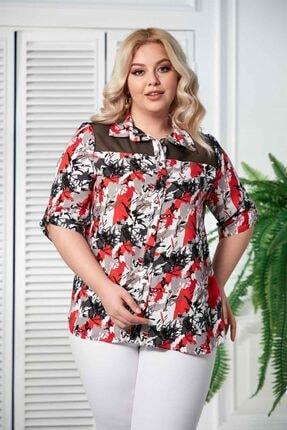 Rmg Kadın Mercan Kol Detaylı Büyük Beden Gömlek 0