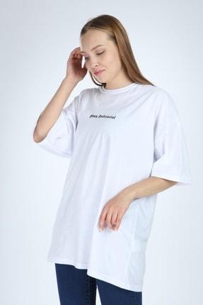 Millionaire Kadın Beyaz Stay Antisocial Baskılı Oversize Tshirt 2